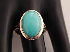 Gorgeous Designer Blue TURQUOISE Cabochon Ring 6.0 ct High End 14k Yellow Gold