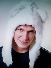 Faux Fur WHITE BEAR SHORT ANIMAL hood/hat cap  winter/Fashion/Halloween Costum
