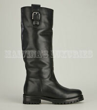 DOLCE & GABBANA BIKER BOOTS BLACK LEATHER BUCKLE AND LOGO DETAIL 39.5 / 9