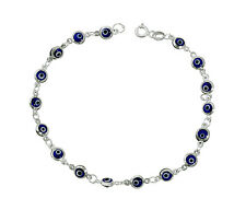 Navy Blue Evil Eye Beads Bracelet on 925 Sterling Silver 7.25""