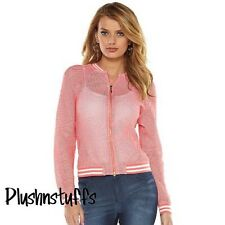 NWT $64 Juicy Couture Mesh Bomber Jacket Large Cotton Blend Peach/Orange L