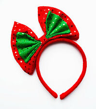 CHRISTMAS RED AND GREEN BOW SPARKLY HEADBAND FESTIVE NOVELTY PARTY FANCY DRESS