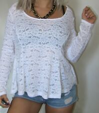 SEXY WHITE FLORAL LACE CROCHET STRETCH PEPLUM LOOSE WOMEN ROMANTiC TOP BLOUSE 1X