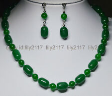 "AAA 10x14MM Green Natural Green Jade GEMS BEADS NECKLACE 18"" EARRINGS SET"