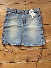 Miss Selfridge Denim lace Up Mini Skirt UK 6