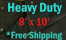 8x10 Black Heavy Duty Triage Tarps Swimming Pool Cover Shade  Boat Waterproof