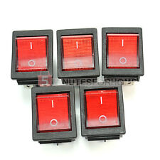 5x Switch Interruttore a Bilanciere Pulsante 250V Rosso Luminoso On/Off 33x25mm