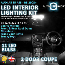 Audi A5 S5 B8 2007 & gt Led Interior Upgrade Kit Completo Conjunto De Bulbo Xenon Blanco