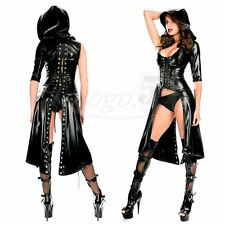 Sexy Women's Cat Suit Faux Leather Bodysuit Corset Lace Up Hooded Dress Clubwear