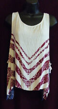 Free People Touch of Love Sleeveless Printed Trapeze Side Tie Top L $68