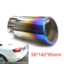 Car Colorful Slant Burnt Stainless Steel Exhaust TailPipe Muffler Tail Throat ×1