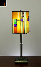 JT Tiffany Japan Lantern Stained Glass Bedside Side Table Lamp Light Leadlight