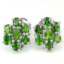 Sterling Silver 925 Stunning Genuine Natural Chrome Diopside Cluster Earrings