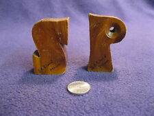 Vintage Wood Capitol Letter S P St Cloud MN Salt and Pepper Shakers           85