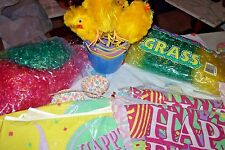 EASTER Decorations 4 Chicks 8 Baskets 2 Flags Die Cuts Clingers Grass Cups Cloth