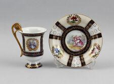 Kleine Porzellan - Mokkatasse mit Watteauszenen und Kobalt/Gold 9987111