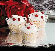 (24pk) WHITE LASER CUT CUPCAKE WRAPPERS Party Favours Laser-cut Cup Cake Wrapper