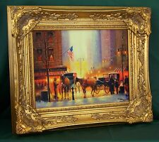 FineDecoArt **INTERESSANT!**GEMÄLDE NEW YORK USA AMERIKA WINTER STADT UM 1900