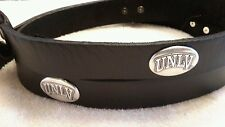 "UNLV Hey Reb Men's Black Genuine Leather Belt with Conchos 42"" New"