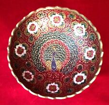 Solid Brass Bowl, Hand Painted Red Floral Peacock Pattern, Made In India
