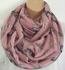 Gorgeous XL Pink Bird Print Circle Loop Infinity Scarf Snood Great Xmas gift