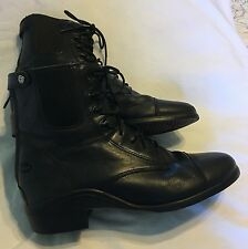 ARIAT HERITAGE LACER Black  Paddock Cowgirl Ankle Boots Women's Size 9.5