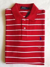 $90 NWT Mens Polo Ralph Lauren Classic Fit Red White Striped Mesh Polo Shirt L