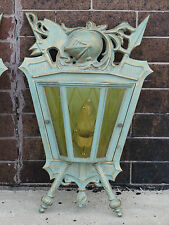 Knight & Armor coat of arms Masonic Temple Light fixture wall sconce Bronze Fin.