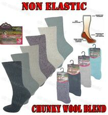3 Pairs Ladies Non Elastic Wool Blend Thermal Boot Socks Eazy Grip Cushion Sole