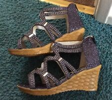 Glitter Studded Crystal Lurex Back Zip Wedges Size 8/41 New