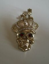Gold Finish With Crystal Hip Hop Bling Style  Fashion Skull With Crown Pendant