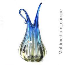 Barovier & Toso Archimede Seguso Art Glas Vase Murano blue Rippenvase glass 1950