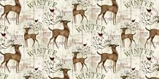 "Springs Creative Winter Garden Fawn Deers 100% cotton 43"" fabric by yard"
