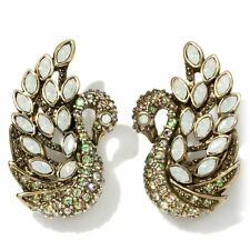 Heidi Daus A swan song Crystal Earrings Opal/Luminous Green PIERCED SWAROVSKI!!!
