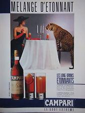 PUBLICITÉ DE PRESSE 1986 CAMPARI SCHWEPPES LE GOUT EXTREME - LEOPARD ADVERTISING