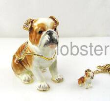 BULLDOG FINE ENAMEL CRYSTAL DOG TRINKET BOX includes pendant gold necklace