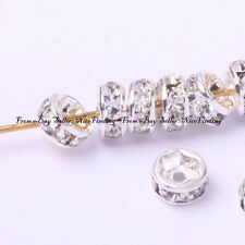 100pcs Roundel Silver Plated Crystal Spacer Beads 4mm