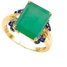 10K SOLID GOLD 8.33 CTW EMERALD & SAPPHIRES COCKTAIL RING SIZE M 1/2 / 6.75