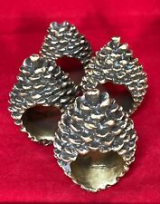 Set of 4 Pine Cone Napkin Rings Brown & Gold Finish Lodge Country Cabin