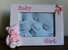 "RUSS New Baby Girl My First Teddy Bear Pink Photo Frame/Gift 4x6""SMALL FAULT"