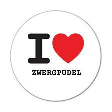 I love ZWERGPUDEL - Aufkleber Sticker Decal - 6cm