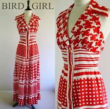 YVETTE 1960S VINTAGE RED & WHITE RETRO HOUNDSTOOTH BIG COLLAR MAXI DRESS 8 XS