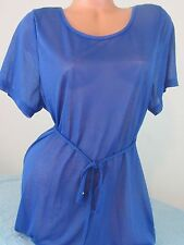 H&M BLUE solid Sheer Beach Cover up Belted Dress Sz M NEW