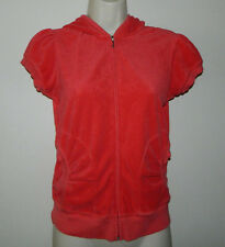 Women Juicy Couture Full Zip Track Solid Orange Hooded Short Sleeve Jacket M