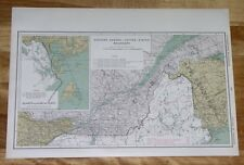 1915 MAP OF QUEBEC USA BOUNDARY / EASTERN TOWNSHIP / MAINE / BAY OF FUNDY