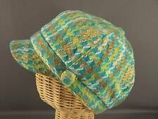 Blue Tan Green plaid newsboy ladies hat cap cadet fidel WOOL baseball winter