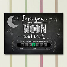 A6 Nursery and Childrens To the moon and back chalkboard style Room Thermometers