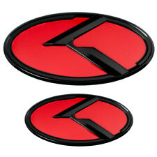 2 BLACK RED KIA K EMBLEMS BADGES FOR TRUNK OR HOOD PAIR