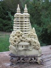 Carved Chinese Soapstone  Mountain Temple  Sculpture