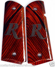 """1911 FULL SIZE REMINGTON LASER-CUT """" R """" GRIPS COCOBOLO ROOT WOOD F-16 NICE!!!"""
